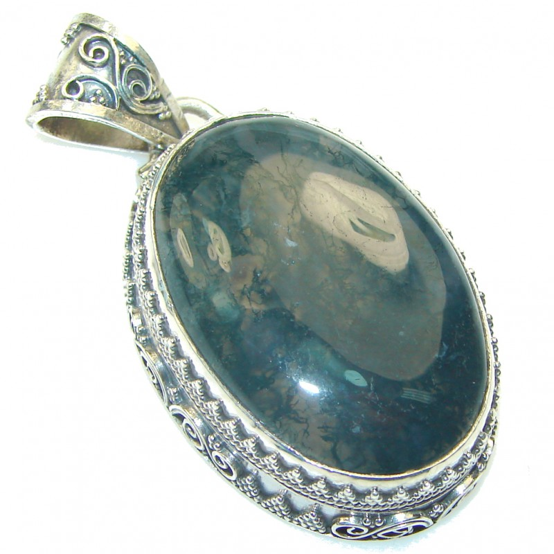 Classy! Moss Agate Sterling Silver Pendant