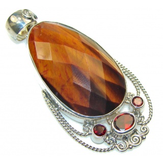 Amazing!! Brown Tigers Eye Sterling Silver Pendant