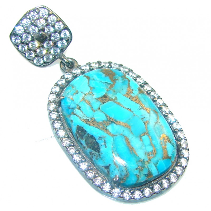 Perfect! Blue Copper Turquoise Sterling Silver Pendant