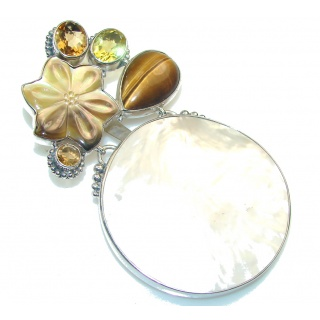 Large! Beautiful Design! Blister Pearl Sterling Silver pendant