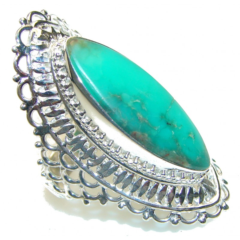 Big! Green Island!! Chrysoprase Sterling Silver ring s. 11