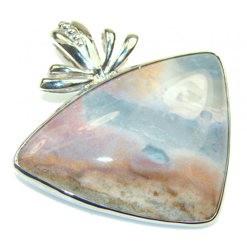 Secret Style Gray Moss Agate Sterling Silver Pendant