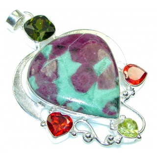 Big!! Fabulous! Ruby in Zoisite Sterling Silver Pendant
