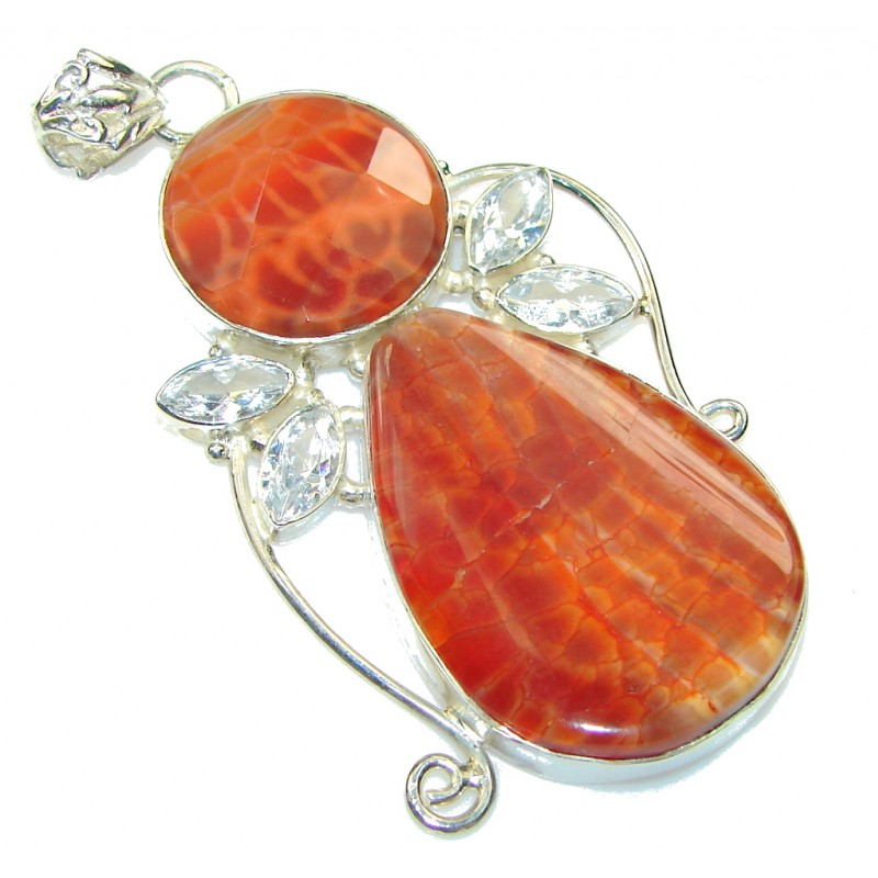 Excellent!! Mexican Fire Agate Sterling Silver Pendant