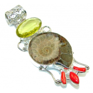 Large! Stylish Ammonite Fossil Sterling Silver Pendant