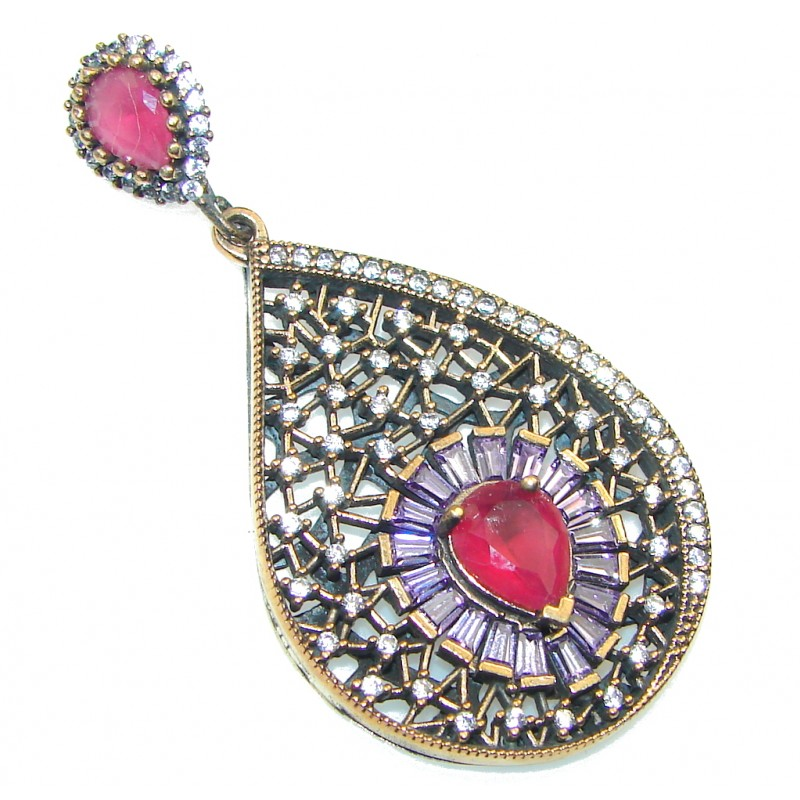 Delicate Design!! Pink Ruby Sterling Silver Pendant