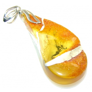 New Fashion!! Polish Amber Sterling Silver Pendant