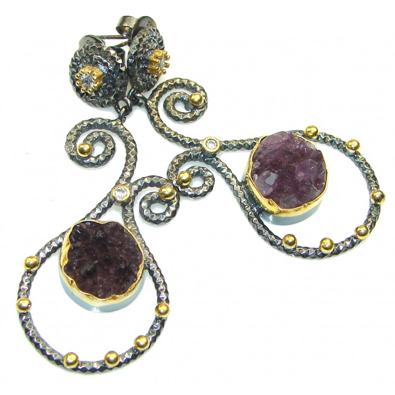 Big! New Fashion Amethyst Cluster Italy Made, Rhodium Plated Sterling Silver earrings