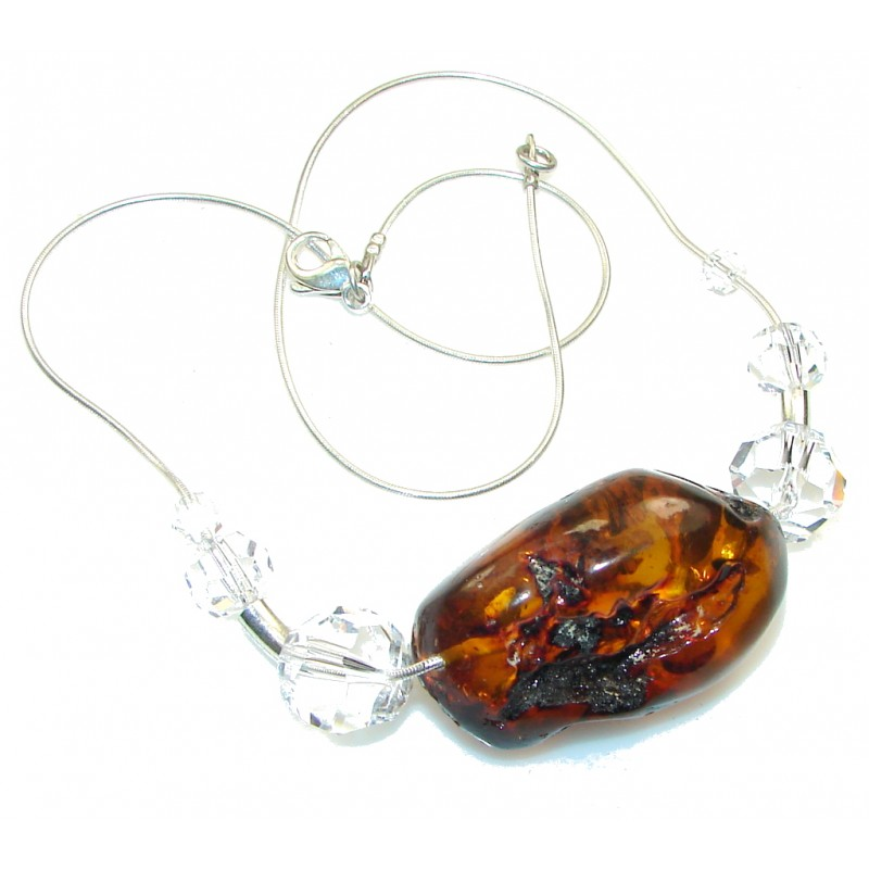 New Design!! Polish Amber Sterling Silver necklace
