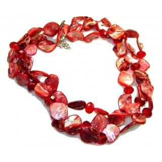Time For Love! Red Mother Of Pearl Sterling Silver Necklace