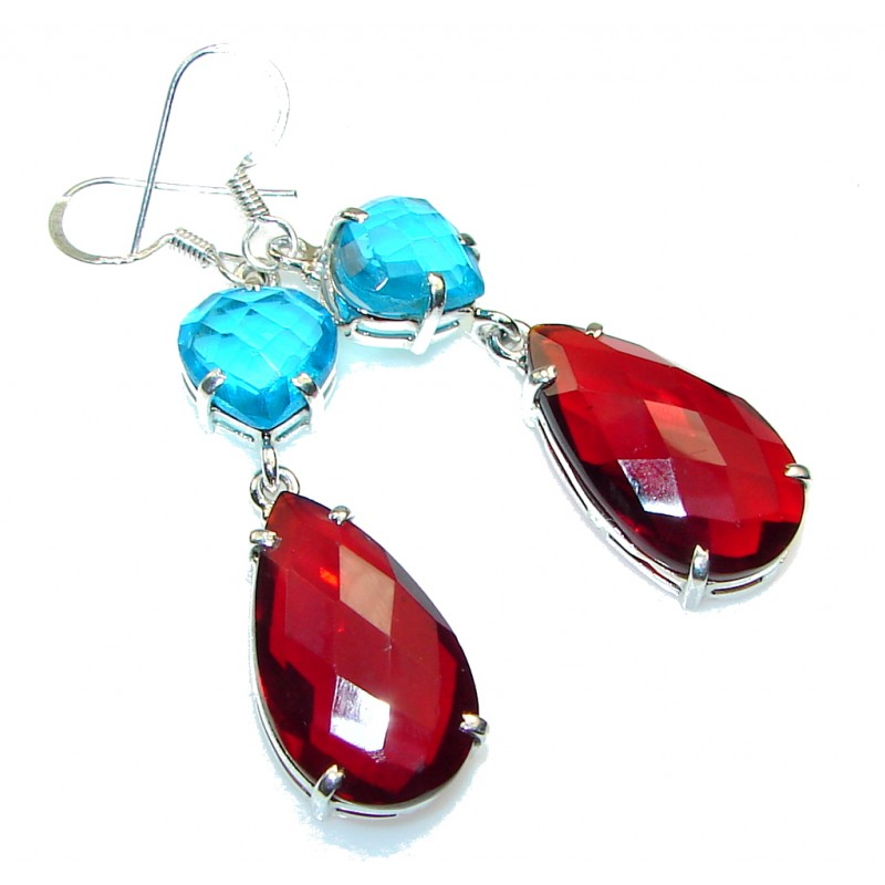 Romantic! Red Garnet Quartz Sterling Silver earrings