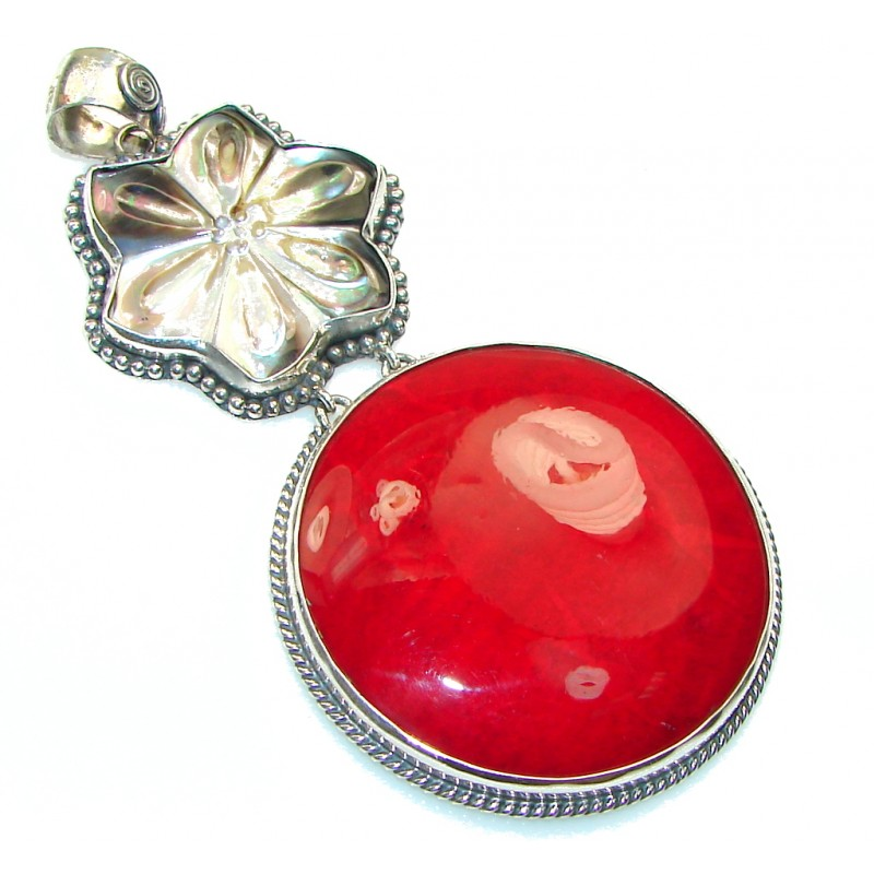 Big!! Amazing Red Fossilized Coral Sterling Silver pendant