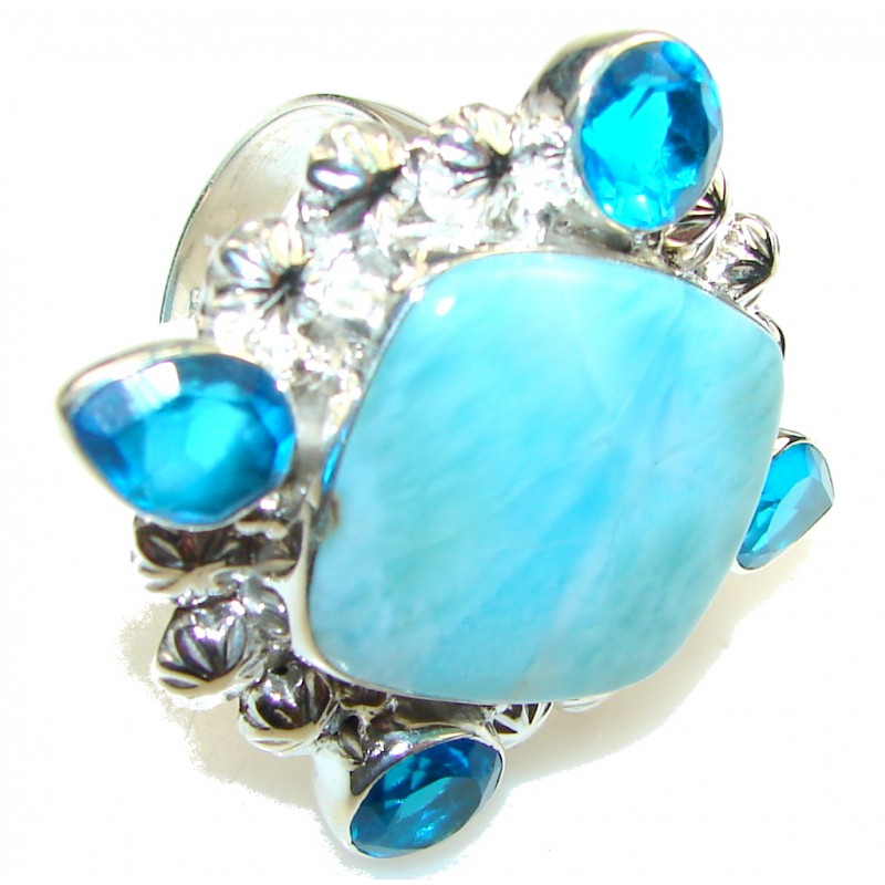 Big! Ocean Light Blue Larimar Sterling Silver Ring s. 12