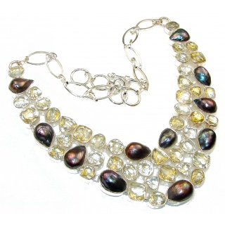 Amazing Style!! Golden Rutilated Quartz Sterling Silver necklace