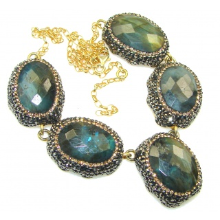 Stunning! Natural Blue Fire Labradorite, Gold Plated Sterling Silver necklace