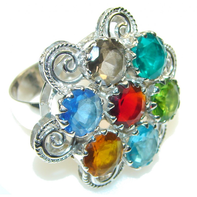 Great Rainbow Quartz Sterling Silver Ring s. 10