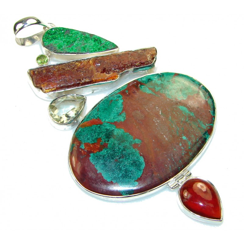 4 1/4 inch long ! Chunky Azurite Chrysocolla Sterling Silver Pendant