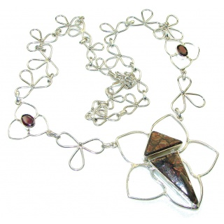 Beautiful!!! Red Ammolite Sterling Silver necklace