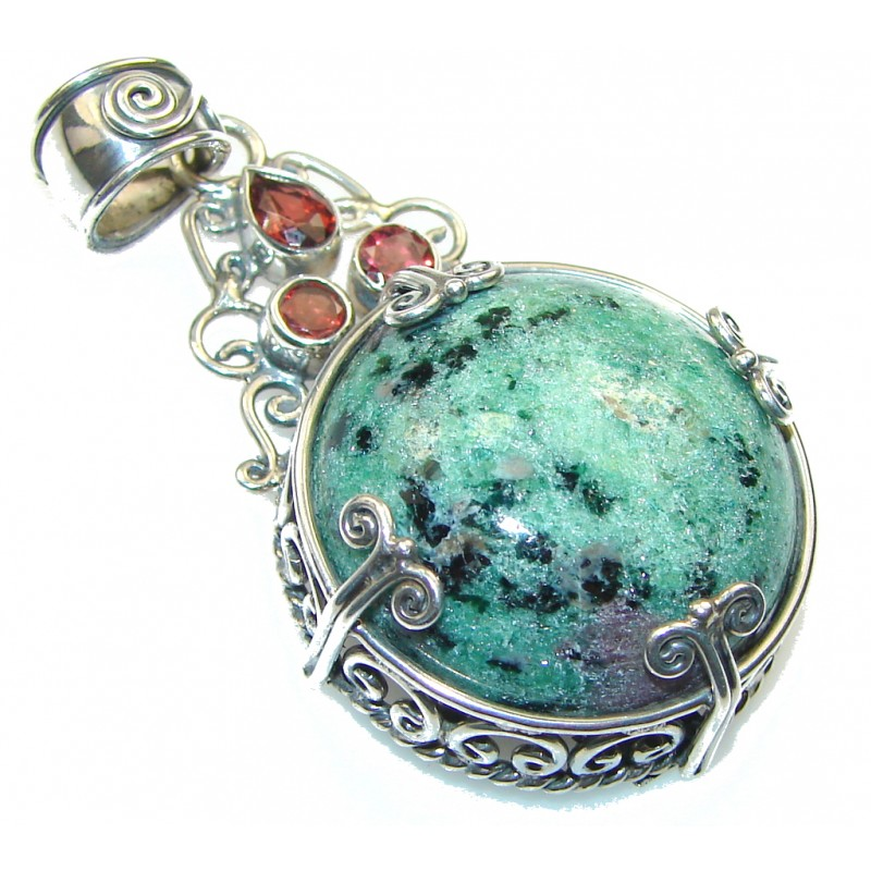 Precious Ruby in Zoisite Sterling Silver Pendant