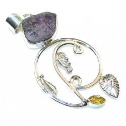 Stylish Design!! Amethyst Cluster Sterling Silver Pendant