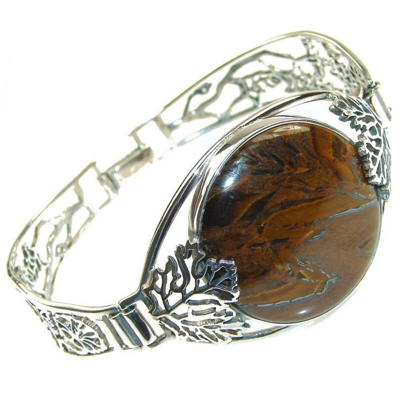 Amazing!! Brown Tigers Eye Sterling Silver Bracelet