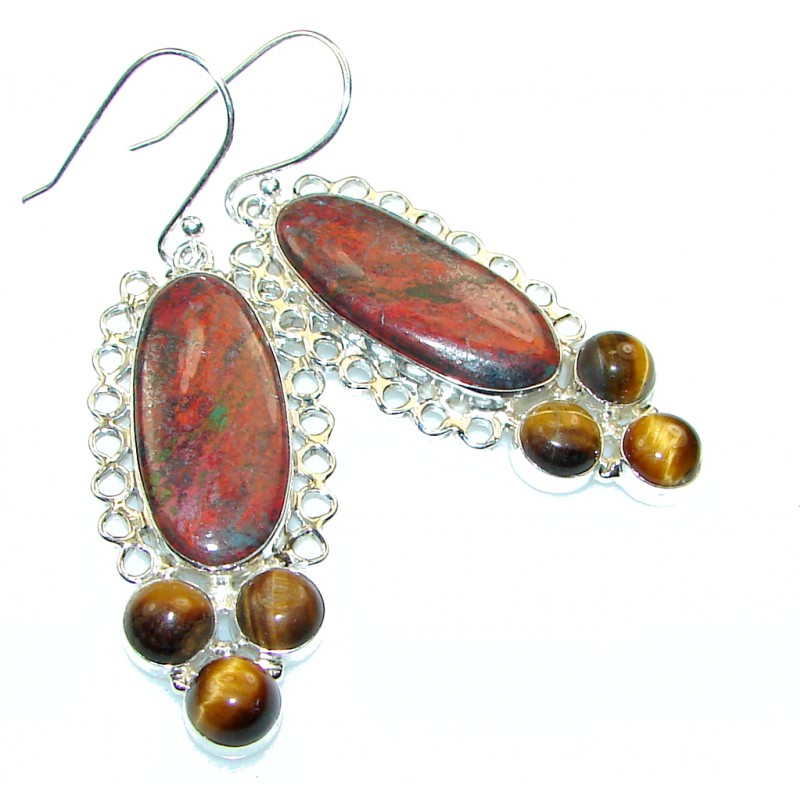 Excellent!! Red Jasper Sterling Silver Earrings