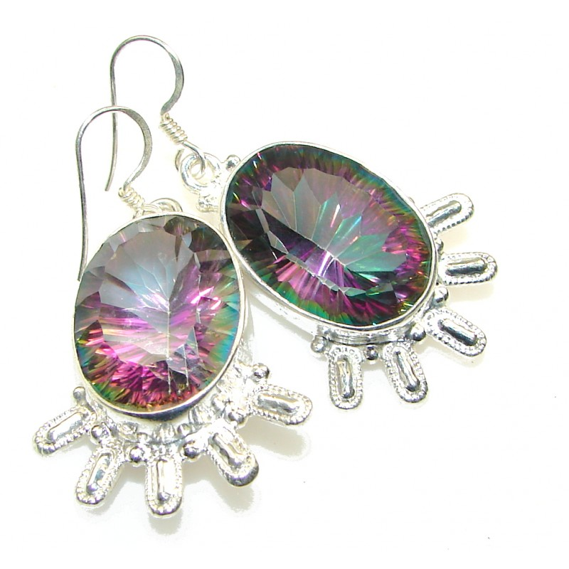 Big! Exotic Magic Topaz Sterling Silver earrings
