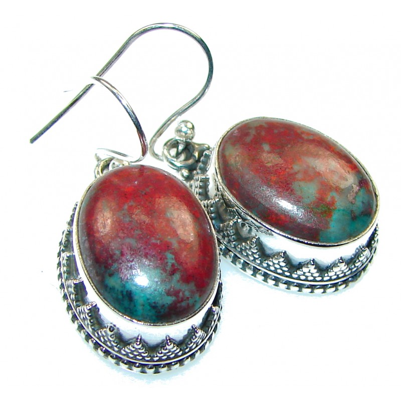 Natural!! Red Sonora Jasper Sterling Silver Earrings