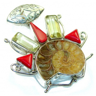 Big! Fashion Ammonite Fossil Sterling Silver Pendant