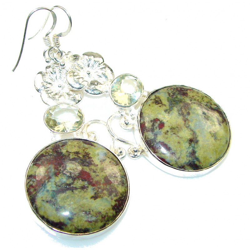 Excellent Green Russian Eudialyte Sterling Silver earrings