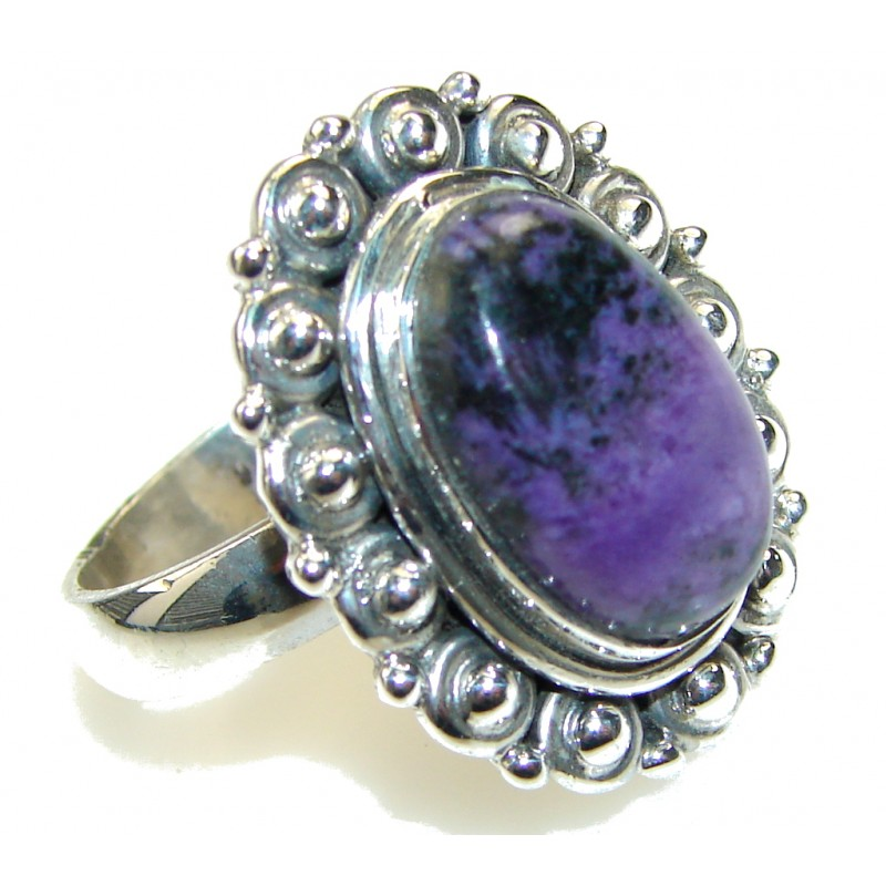 Excellent!! Purple Charoite Sterling Silver Ring s. 8 1/2