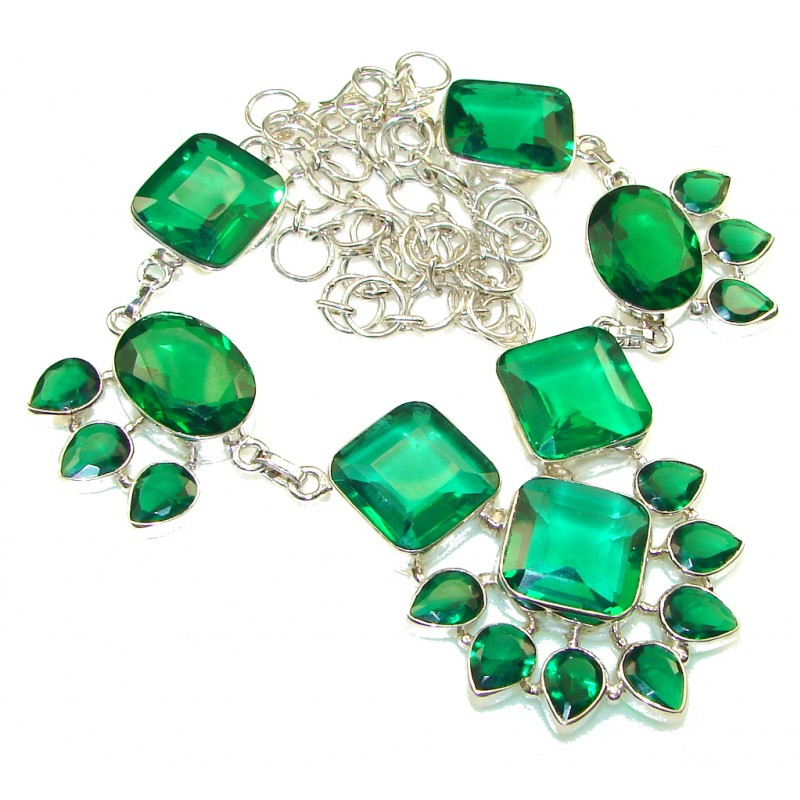 Created Green Chrome Diopside Quartz Sterling Silver Necklace