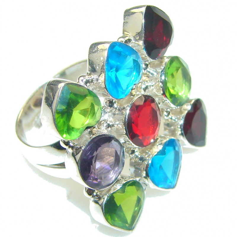 Aura Of Beauty!! Multicolor Quartz Sterling Silver Ring s. 9