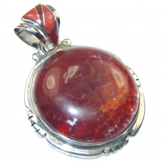 Fabulous! Mexican Fire Agate Sterling Silver Pendant