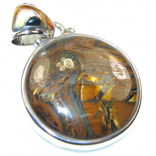 Natural! Brown Tigers Eye Sterling Silver Pendant