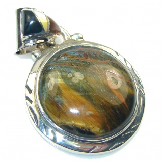 Perfection Brown Tigers Eye Sterling Silver Pendant