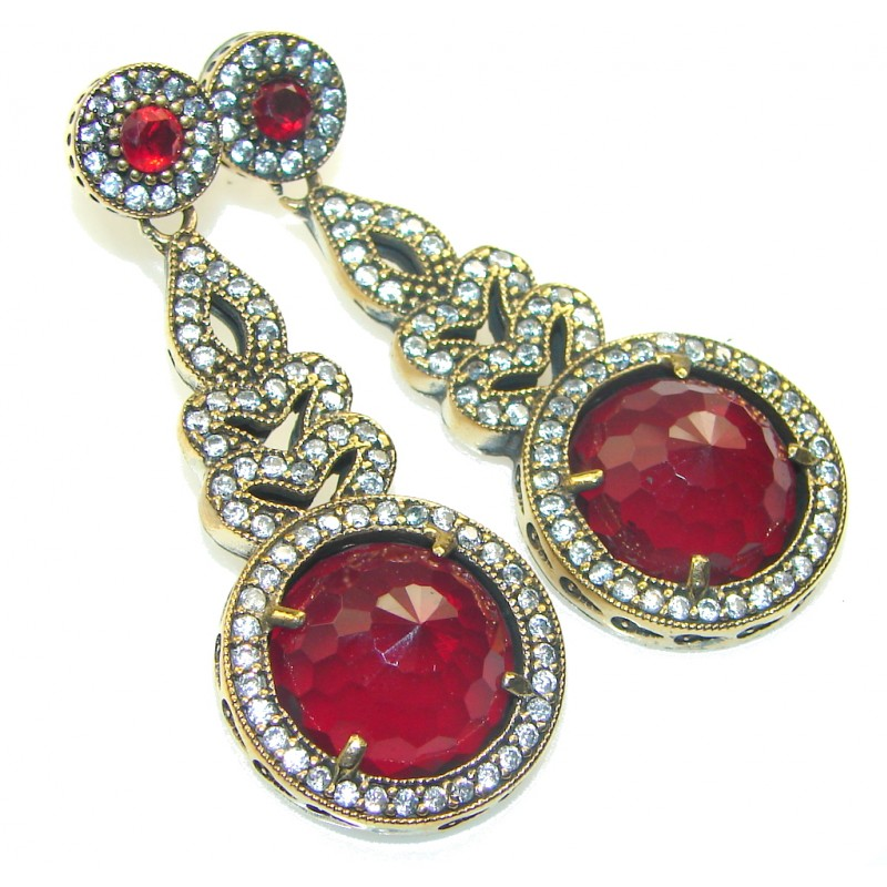 Stunning Design!! Garnet Quartz Sterling Silver earrings