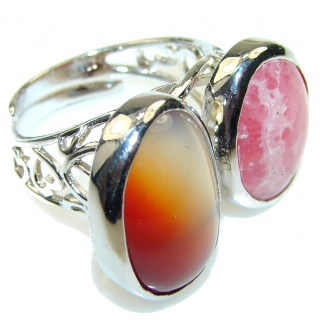 Secret!! Rhodochrosite , Agate Sterling Silver ring s. 8 - Adjustable