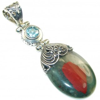 Bali Collection Moss Agate Blue Topaz Sterling Silver Pendant