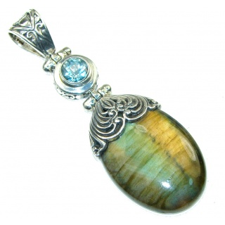Bali Collection Labradorite Blue Topaz Sterling Silver Pendant