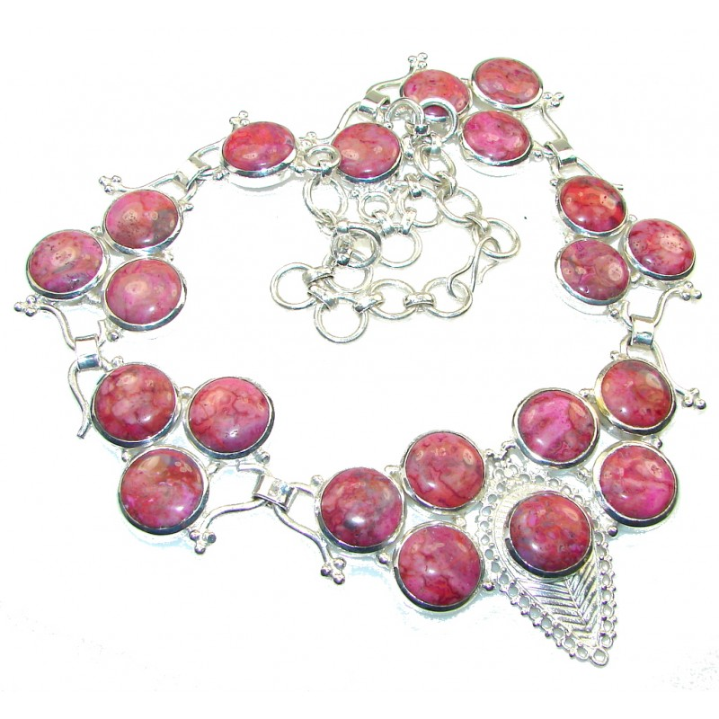 Pink Sea Sediment Jasper Silver Overlay Necklace