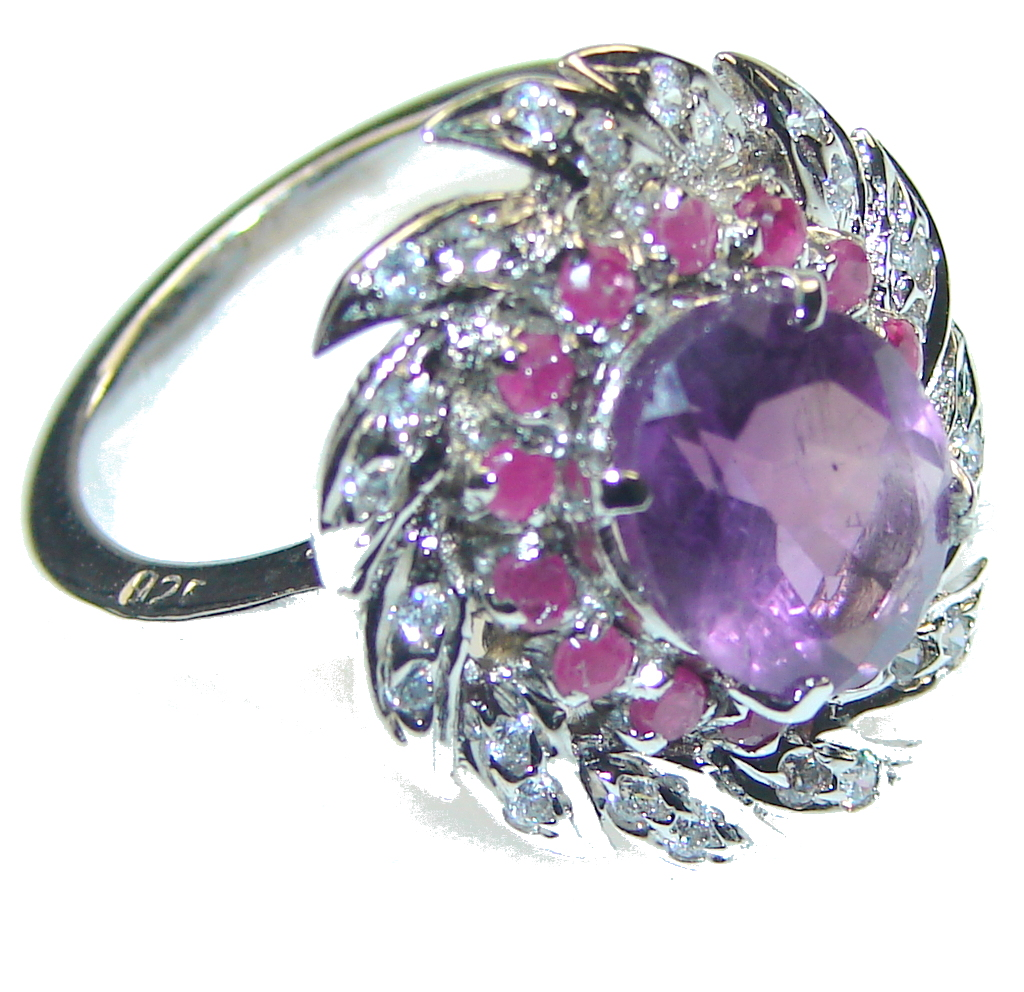 lavender dream  purple amethyst sterling silver ring  size