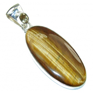 Special Moment!! Brown Tigers Eye Sterling Silver Pendant