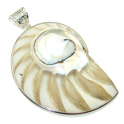 Big! Stylish Ocean Shell Sterling Silver Pendant