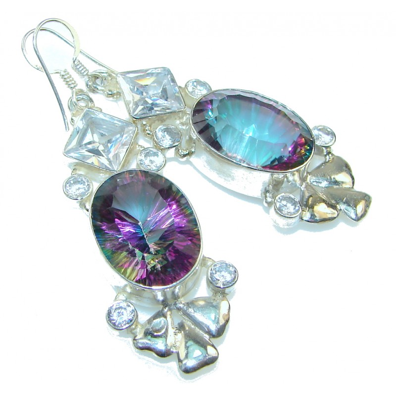 Exotic Style! Magic Topaz Sterling Silver earrings