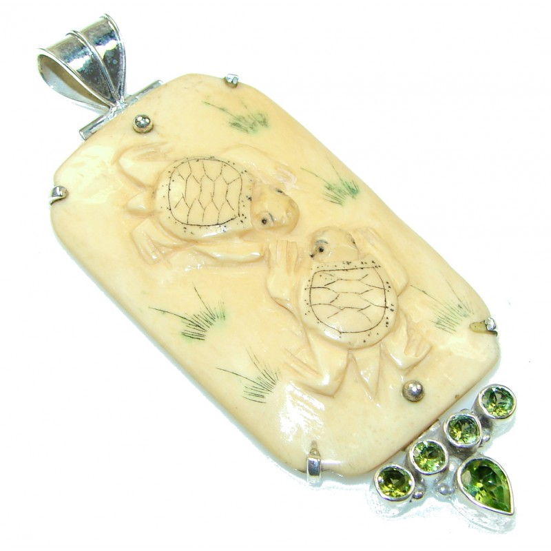 Big! New Fashion! Carved Ox Bone Sterling Silver Pendant