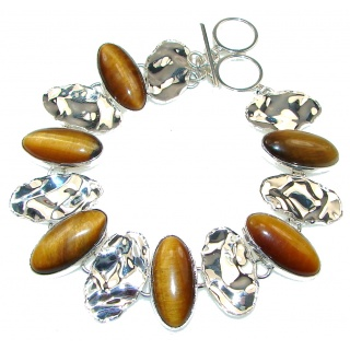 Natural Beauty!! Tigers Eye Covered Back Sterling Silver Bracelet