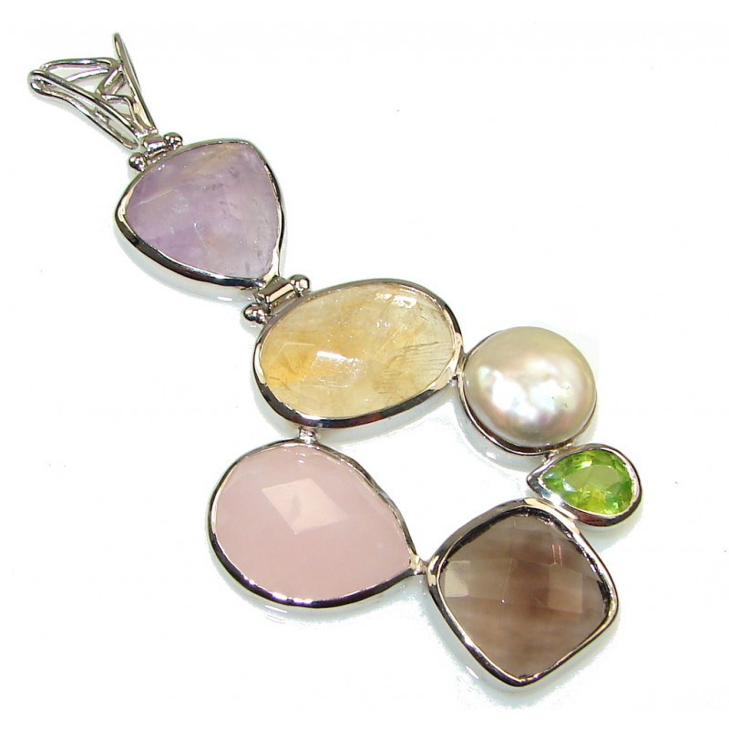 Stunning Universe Multistone Sterling Silver Pendant