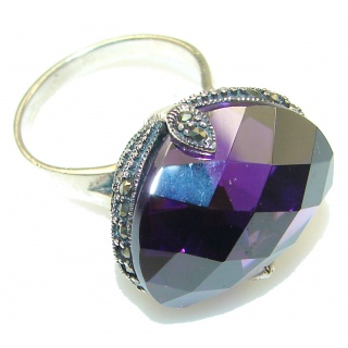 Beautiful!! Created Alexandrite Quartz Sterling Silver Ring s. 8