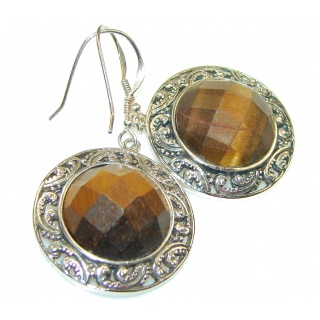 Vision Brown Tigers Eye Sterling Silver Earrings